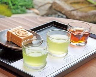 玉露、さわやかな煎茶、さっぱりしたほうじ茶のセット「冷茶飲み比べセット(最中付き)」(1080円)