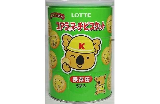 ポスターに描かれた「コアラのマーチビスケット〈保存缶〉」の実物はコレ!