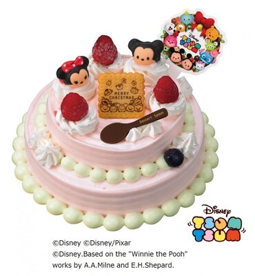 ミッキー&ミニーのツムが飾られた「'ツムツム'クリスマスデコレーションケーキ」(参考価格・3800円)