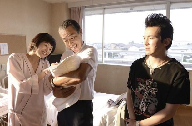 「誕生」では柳葉敏郎と浅利陽介が義理の親子を演じる