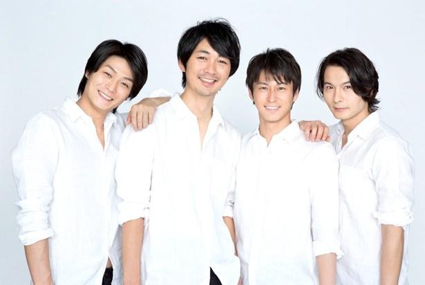 tvkの昼の情報番組「猫のひたいほどワイド」MCの八神蓮、小林且弥、三上真史、藤田玲(左から)