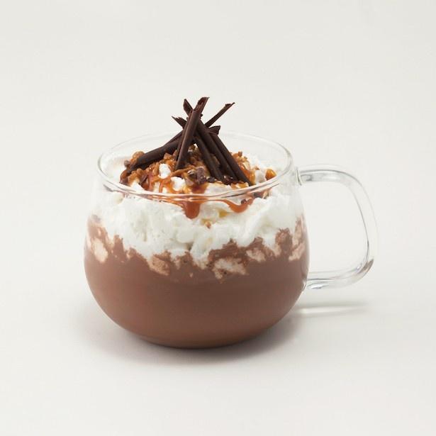 よりカカオ感が味わえる「キャラメルシーソルトホットチョコレートドリンク(ダーク)」