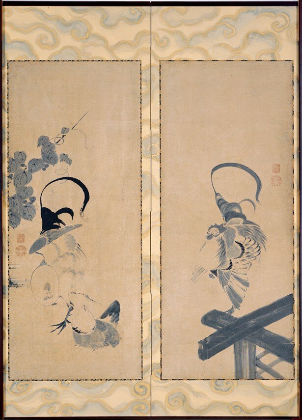 【写真を見る】墨で描かれた伊藤若冲の群鶏図屏風