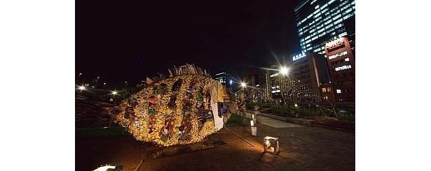 中之島公園会場のバラ園入口に設置されている、缶などの廃材を使って作られた巨大な魚のオブジェ「金チヌ」もライトアップ