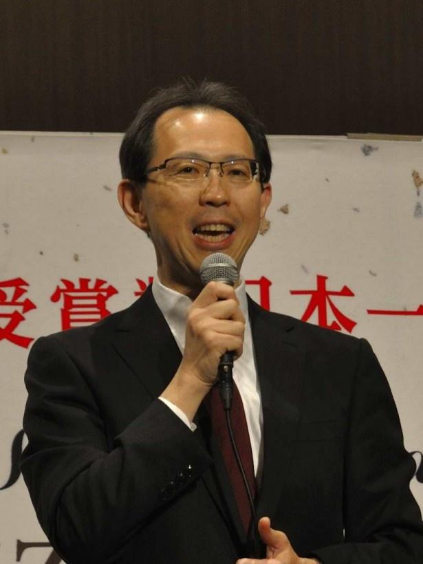 福島県の現状と課題、将来への取り組みについて語った内堀福島県知事(写真は交流会)