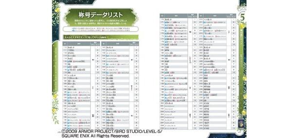 CHAPTER5 獲得称号リスト