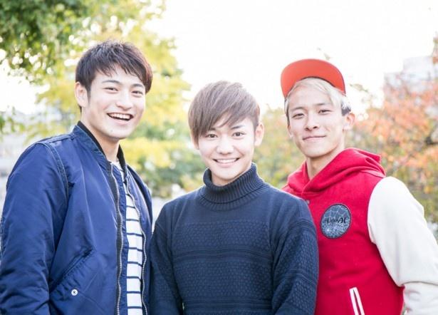左から、北田祥一郎(19)、馬越琢己(23)、岡 進太郎(21)