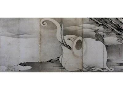 「象と鯨図屏風」(右隻)/大きな白いゾウが描かれる。不思議な目が印象的