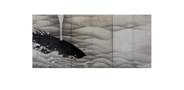 「象と鯨図屏風」(左隻)/真っ黒なクジラの潮吹きが描かれる。波を描き方が独特だ