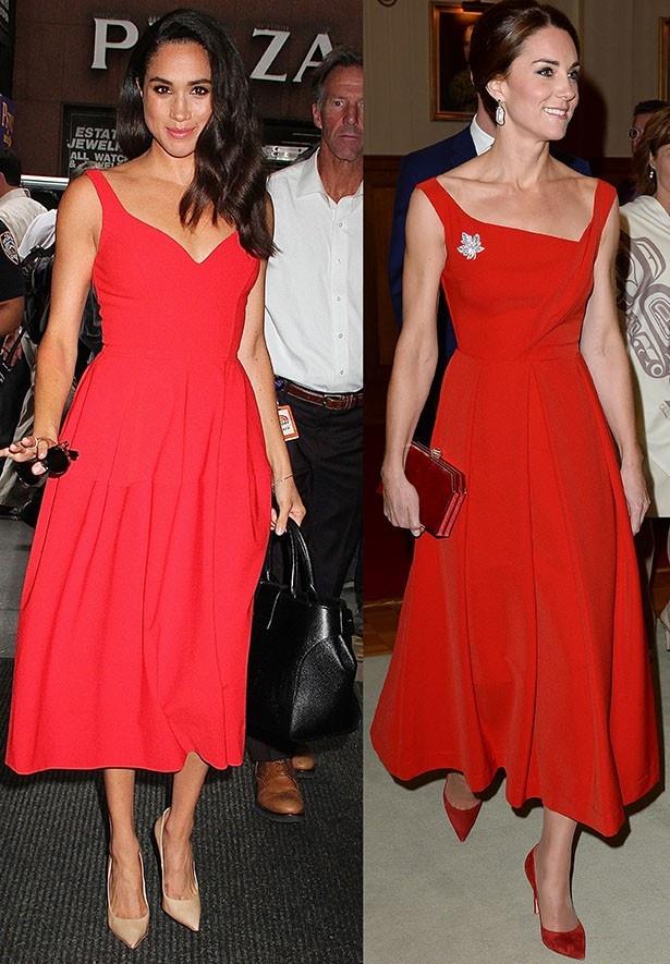 【写真を見る】キャサリン妃とメーガン・マークル、真っ赤なドレス姿が激似!?