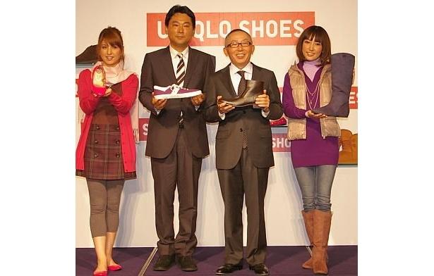 """スニーカーからブーツまで!ついにユニクロが""""靴""""に参戦。右から2番目が柳井社長、3番目が中嶋社長"""