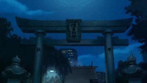 将棋会館での対局が終わり、夕食を食べに川本家へ向かう途中のシーンで描かれている (「住吉神社」)