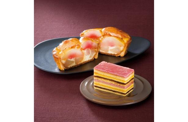 「札幌グランドホテル」十二単(じゅうにひとえ)¥420(手前)・ビッグアップルパイ¥1260(1ホール・奥)