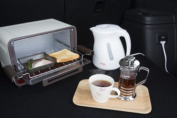 10分ほどで、パンとハムエッグ、そして温かい紅茶が出来上がり