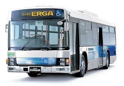 展示される路線バス大型ノンステップバスエルガ
