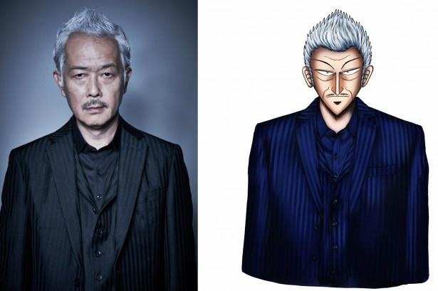 ドラマ「銀と金」に平井銀二役で出演する リリー・フランキーと、今回のドラマ化にあたり、原作者・福本伸行が特別にを描き下ろしたイラスト