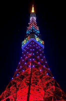 10/2(金)の日没から五輪カラーに変身する東京タワー。「2016 TOKYO」の文字は、24:00に一度消え、東京招致が決定したら再点灯!