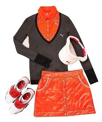 プーマゴルフは、グリーンに生える鮮やかな赤でキュートさをアピール!長袖シャツ1万3650円、スカート1万4700円ほか