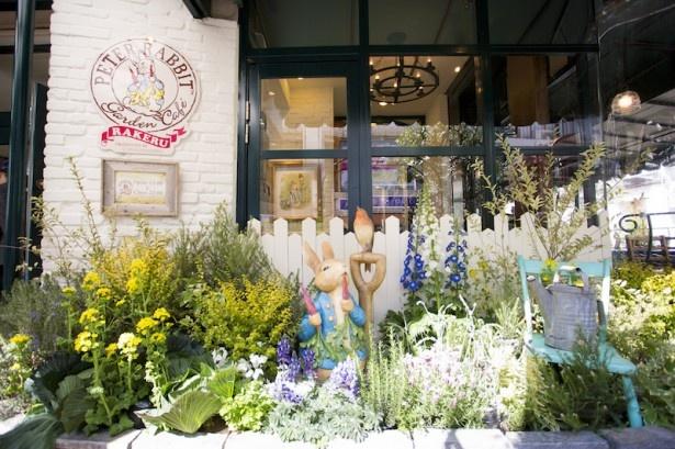 ピーターラビット ガーデンカフェの入口は物語に出てくるイングリッシュガーデンを再現。花々と一緒にピーターラビットが出迎えてくれる