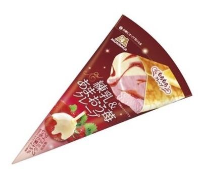 あまおうを使った練乳仕立ての贅沢アイス「練乳&あまおう苺クレープ」(151円)を12月19日(月)よりコンビニ限定発売