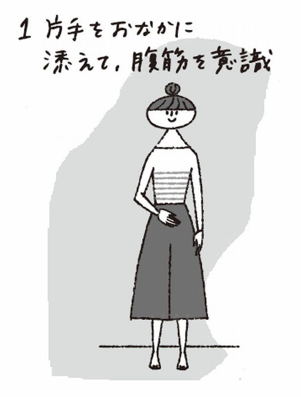 【写真を見る】腹式呼吸トレーング1 背中を壁につけ、足を肩幅程度に開いて、上半身はリラックス!