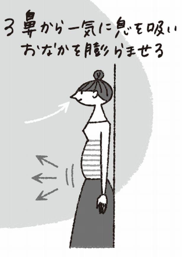 腹式呼吸トレーニング3 腹筋を意識して、肩を動かさないように注意して