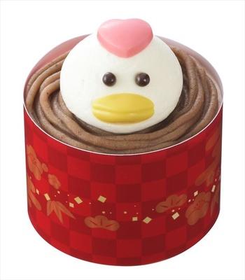 """「酉年のケーキ」新年の干支""""酉""""をかたどったスイーツ(540円)"""