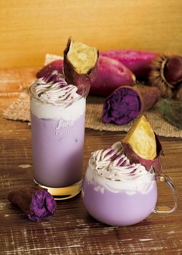 【写真を見る】秋に販売されていた「紫いもとさつまいものプレミアムラテ」は、焼きいもを豪快にトッピングした見た目が特徴