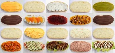 北海道産小麦を使ったふわふわ生地のパンにはたっぷりの具がサンド。おやつ系、総菜系あわせて約30種類が並ぶ