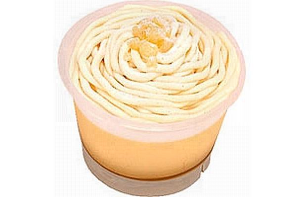 たまごの風味豊かなカスタードプリンにホイップクリームとマロンクリームをたっぷり絞った「モンブランプリン」(220円)