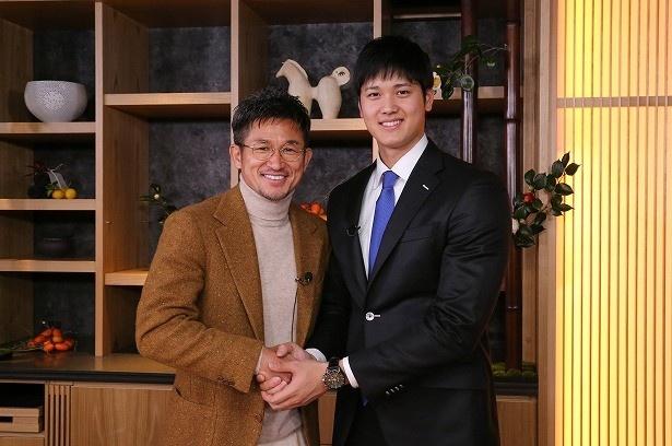 """キングカズこと三浦知良選手(左)と、""""二刀流""""大谷翔平選手(右)の初対談が実現!"""
