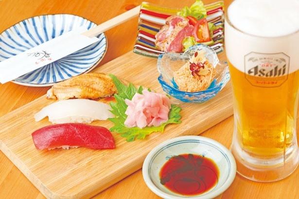 寿司3種にちょいあて2種、ビールがセットになった「ほろ酔いSet」(1080円※内容は日替わり)/ うお春