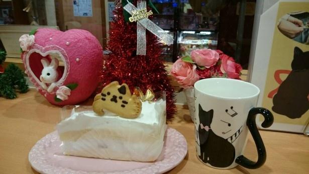 12月23日(金)から25日(日)限定で、猫クッキー付きのケーキも提供する。