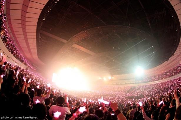 会場がLiSAのイメージカラー、ピンク色のライトで染まる