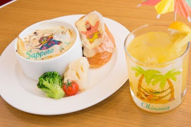 「スポンジ・ボブのチーズグラタン~札幌の雪遊び~」と木陰でのリラックスタイムをイメージした「スポンジ・ボブのトロピカルパインジュース~沖縄でハッピーホリデー~」
