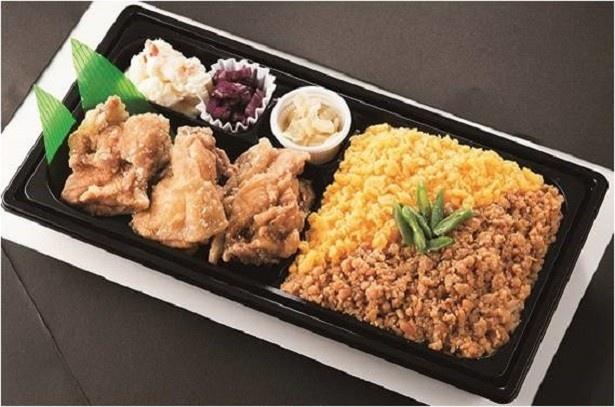 「おかず本舗 佃浅」の「葱塩かぼすだれの唐揚げと鶏そぼろ弁当」(1188円)