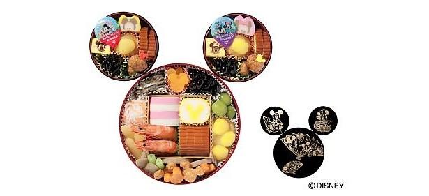 子ども用の重箱には、それぞれミッキーとミニーをデザインした切り出し蒲鉾と玉子焼のほか、伊達巻や黒豆、栗きんとんなど1箱につき7種類7品種が詰め合わせ