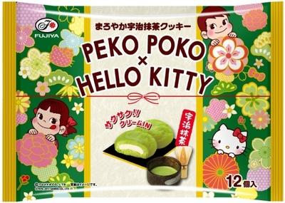【写真を見る】1月17日(火)発売の「ペコポコ&ハローキティまろやか宇治抹茶クッキー」(参考小売価格・オープン価格)はペコちゃんポコちゃんとハローキティがコラボしたパッケージに注目