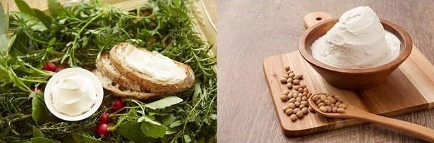"""【写真を見る】""""チーズのような豆乳クリーム""""のクリームチーズタイプ(左)とマスカルポーネチーズタイプ(右)"""