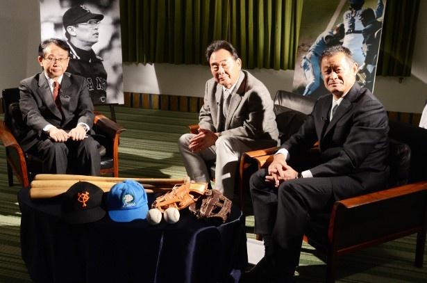 左から、MCの福井謙二、東尾修、石毛宏典