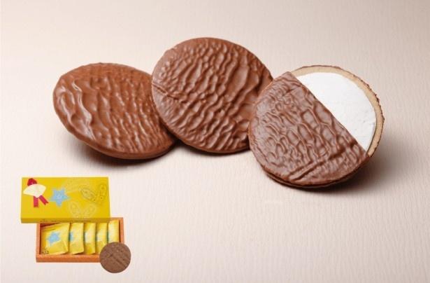 代表銘菓のプティゴーフルをミルクチョコレートでコーティングした「ショコラゴーフル」(5枚入594円)