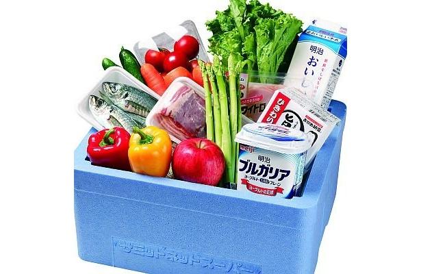 サミットネットスーパーの商品例。このようにパッケージされて自宅に届く