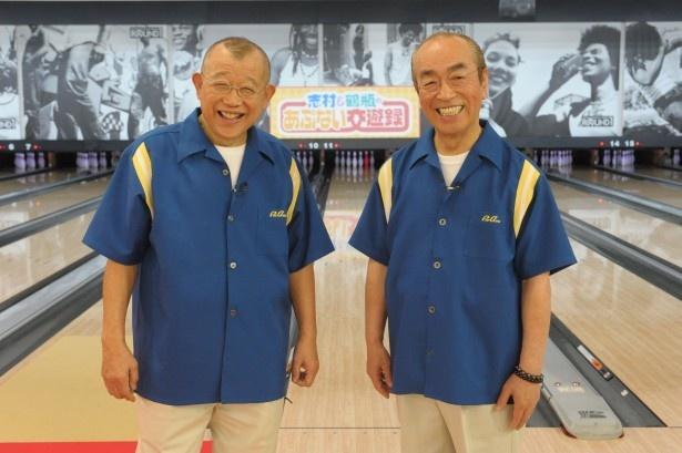 「志村&鶴瓶のあぶない交遊録」でコンビを組む笑福亭鶴瓶、志村けん(左から)