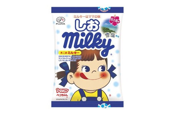 宮古島の雪塩を使ったミルキーには通常タイプも。8/4(火)発売「しおミルキー」(210円)