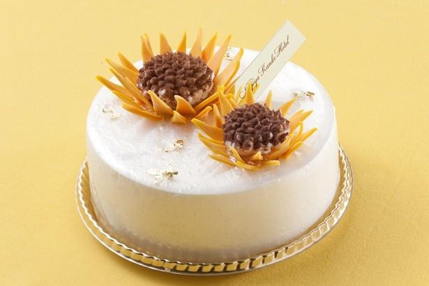 「名古屋観光ホテル」の「ル・シュッド テイクアウトショップ」で販売されるレアチーズケーキ、ひまわり(2400円)