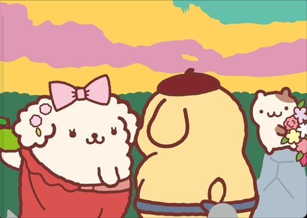 ポムポムプリンのクリアファイル。ゴーギャン作「タヒチの3人」をイメージ。2枚セット(800円)で販売
