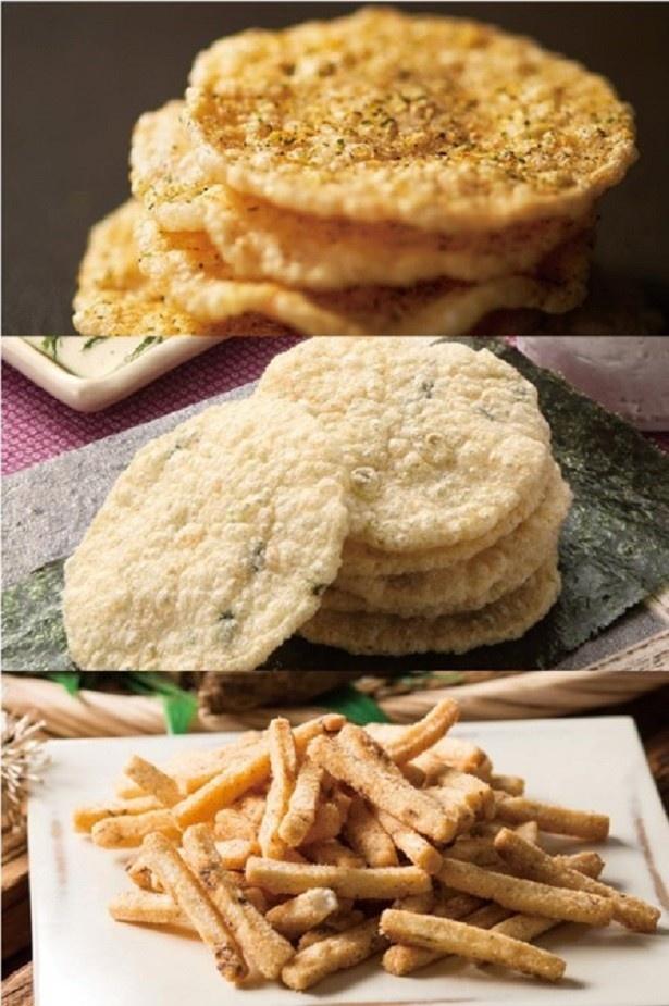 【写真を見る】人気の「天ぷらせんべい」、「のり天せんべい」、「泥付きごぼう天せんべい」(上から)