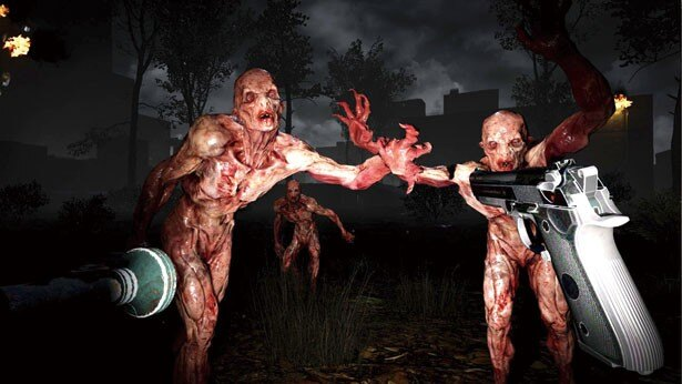 VR SPACE SHIBUYAの人気ホラーゲーム「The Brookhaven Experiment」。360度の方向から迫り来るゾンビを打ち倒していく