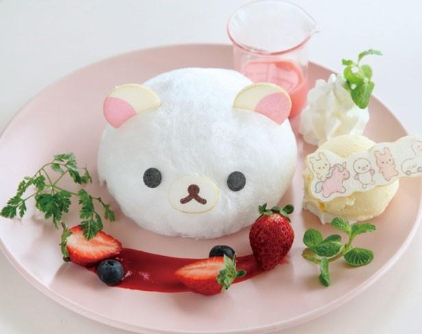 ほろ苦いチョコケーキが絶品。コリラックマのわたあめをソースで溶かして召し上がれ!/Korilakkuma Cafe「コリラックマのふんわりフォンダンショコラ」(1490円)