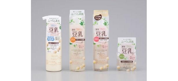 従来品に比べてイソフラボンの含有率が4倍に増加。コラーゲン生成を助けてくれる豆乳 薬用スキンケアシリーズ4品